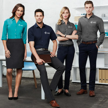 A team of office workers in branded office-wear