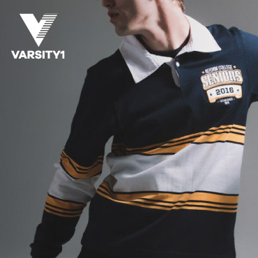 A student wearing a custom-designed school-leavers' rugby jumper